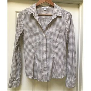 James Perse gingham button down shirt.